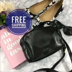 "Lanvin | VTG Black Leather Crossbody 50"" strap"